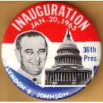 LBJ 14H - Inauguration Jan. 20 , 1965 36th Pres. Lyndon B. Johnson Campaign Button
