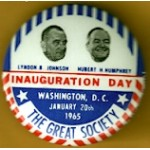 LBJ 1N - Lyndon B. Johnson Hubert H. Humphrey Inauguration Day  January  20th  1965  Campaign Button