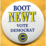 Labor 20C - Boot Newt Vote Democrat UAW Union Button