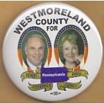 PA 9B - Westmoreland County For Rendell Governor Knoll Lt. Governor Pennsylvania Campaign Button