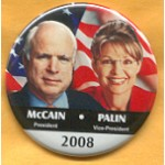 McCain 20A - McCain President Palin Vice-President 2008 Campaign Button