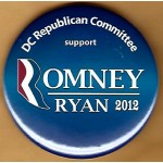 Romney 2D - DC Republican Committee support Romney  Ryan 2012 Campaign Button