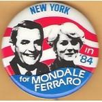 Mondale 22C - New York in '84 for Mondale Ferraro Campaign Button