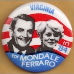 Mondale 23A - Virginia in '84 for Mondale Ferraro Campaign Button