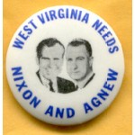 Nixon 69A - West Virginia  Needs Nixon And Agnew Campaign Button