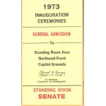 Nixon 72D - 1973 Inauguration (Nixon) Ceremonies General Admission Standing Room Senate Ticket