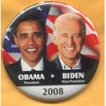 Obama 25A  - Obama President Biden Vice President 2008 Campaign Button