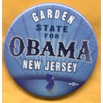 Obama 33A - Garden State For Obama New Jersey Campaign Button