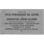 Clinton 130A - Come Join Vice President Al Gore and Senator John Glenn Paper Card