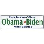 Obama 52A - Union Bricklayers' Choice Obama Biden Rebuild America Bumper Sticker