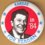Reagan 107F - Kansas in '84 For Reagan Campaign Button