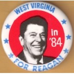 Reagan 110F - West Virginia in '84 For Reagan Campaign Button