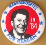 Reagan 108A - Massachusetts For Reagan in '84 Campaign Button