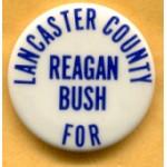 Reagan 12E - Lancaster County For Reagan Bush Campaign Button