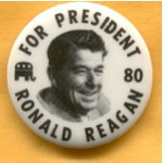 Reagan 20D - For President 80 Ronald Reagan Campaign Button