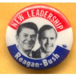 Reagan 23C - New Leadership Reagan - Bush Campaign Button