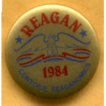 Reagan 26C - Reagan 1984 Continue Reaganomics Campaign Button