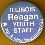 Reagan 37H - Illinois Reagan Youth Staff for A new beginning / 80 Campaign Button