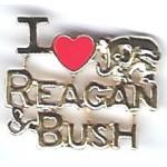 Reagan 92B - I Love Reagan & Bush  Lapel Pin