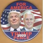 Trump 1P - For America Trump Pence 2020 Campaign Button