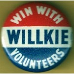 Willkie 10J - Win With Willkie Volunteers Campaign Button