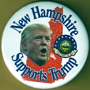 Donald Trump campaign button.
