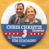 Christie For Governor Campaign Button.