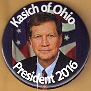 John Kasich for president campaign button.