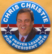 Chrisite For President 2016 campaign button.