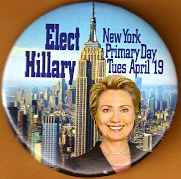 New York for Hillary Clinton Campaign Button