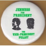 3rd Party 38G - Jenness For President For Vice President Pulley Campaign Button