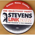 3rd Party 4Q - The Objectivist Party Stevens Link 2012 For President & Vice - President Campaign Button