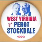 3rd Party 32G - West Virginia for  Perot Stockdale 1992 Campaign Button