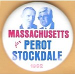 3rd Party 32K - Massachusetts for Perot Stockdale 1992 Campaign Button
