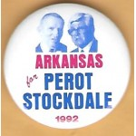 3rd Party 39H - Arkansas for Perot Stockdale 1992 Campaign Button