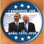 Biden  4G  -  I Endorse Joe  April 14th , 2020  Campaign Button