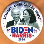 Biden 17A  -  Leaders America Can Trust  Biden  Harris 2020 Campaign Button