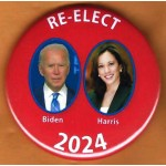 Biden 9H  -  RE-ELECT Biden  Harris 2024   Campaign Button