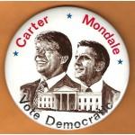 Carter 15L - Carter  Mondale Vote Democratic Campaign Button