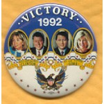 Clinton 24A - Victory 1992 Hillary and Bill Clinton Al and Tipper Gore Campaign Button