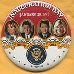 Clinton 68B  - Inauguration Day January 20, 1993 Hillary and Bill Clinton Al and Tipper Gore Campaign Button