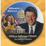 Clinton 84A - Thomas Jefferson William Jefferson Clinton Campaign Button