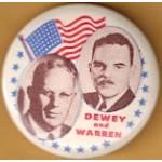 Dewey 1K - Dewey and  Warren Campaign Button