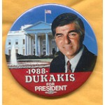 Dukakis 14A - Dukakis For President 1988 Campaign Button