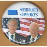 G. W. Bush 11G- North Dakota  Supports (Bush Cheney) 2004 Campaign Button