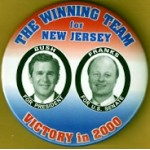 G.W. Bush 2T -  The Winning Team for New Jersey Bush For President Franks For U.S. Senate Campaign Button
