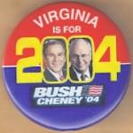 G. W. Bush 57A - Virginia Is For Bush Cheney '04 Campaign Button