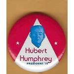 HHH 2P - Hubert Humphrey President '72 Campaign Button