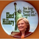 Hillary 43J  - Elect Hillary New Jersey Primary Day Tuesday June 7 Campaign Button