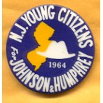 LBJ 6B - N.J. Young Citizens For Johnson & Humphrey 1964 Campaign Button